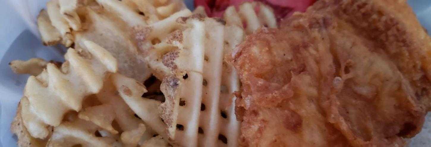 Dockside Dave's grouper & waffle fries